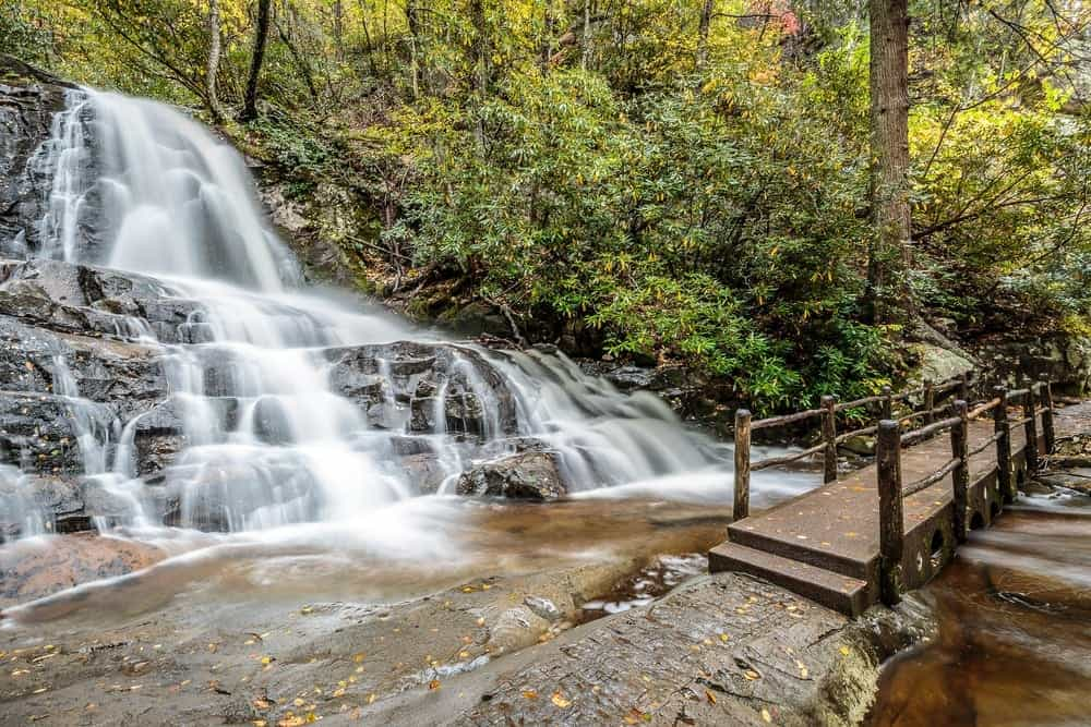 Photo of Laurel Falls, one of the most popular Smoky Mountain waterfalls.