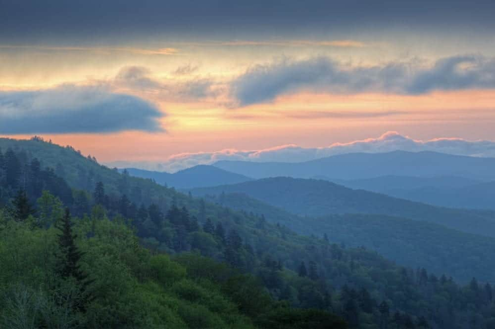 Stunning image of sunrise over the Smoky Mountains
