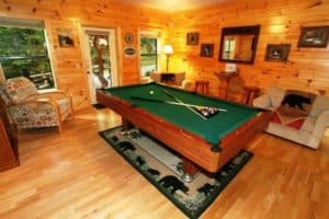 Pool table in game room at a Gatlinburg cabin rental