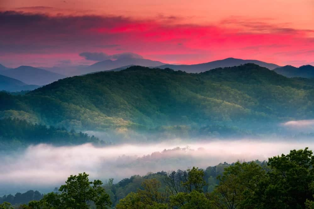 Beautiful sunrise photo of the Smoky Mountains.