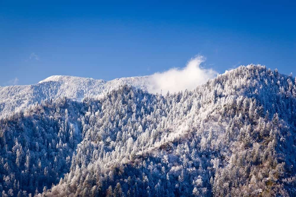 The Smoky Mountains covered in snow.