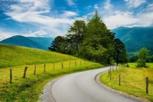 A scenic winding road in Cades Cove in the Smoky Mountains.