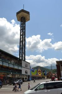The Gatlinburg Space Needle towering over downtown Gatlinburg.