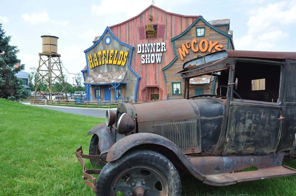 Outside of the Hatfield McCoy Dinner Show in Pigeon Forge Tn