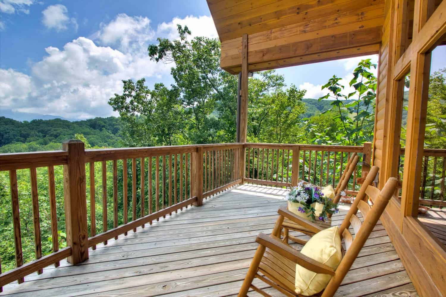 chairs on deck of Gatlinburg cabin rental