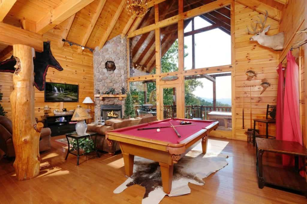game room in smoky mountain cabin