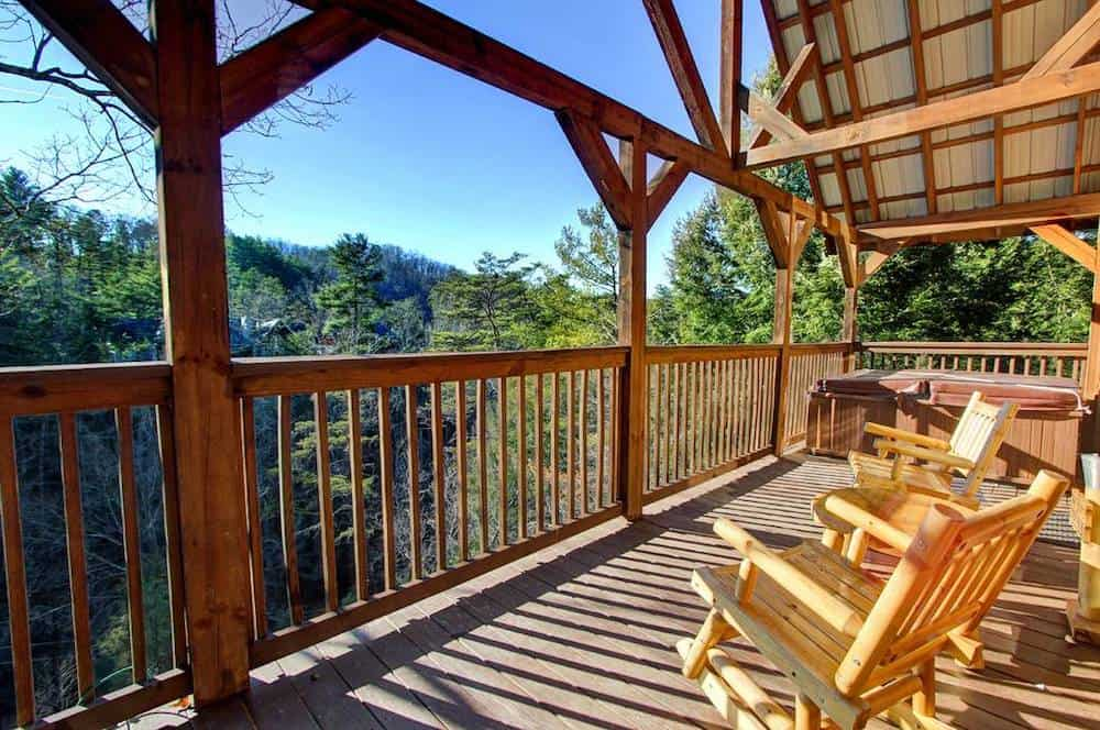 deck of a Gatlinburg cabin on the river