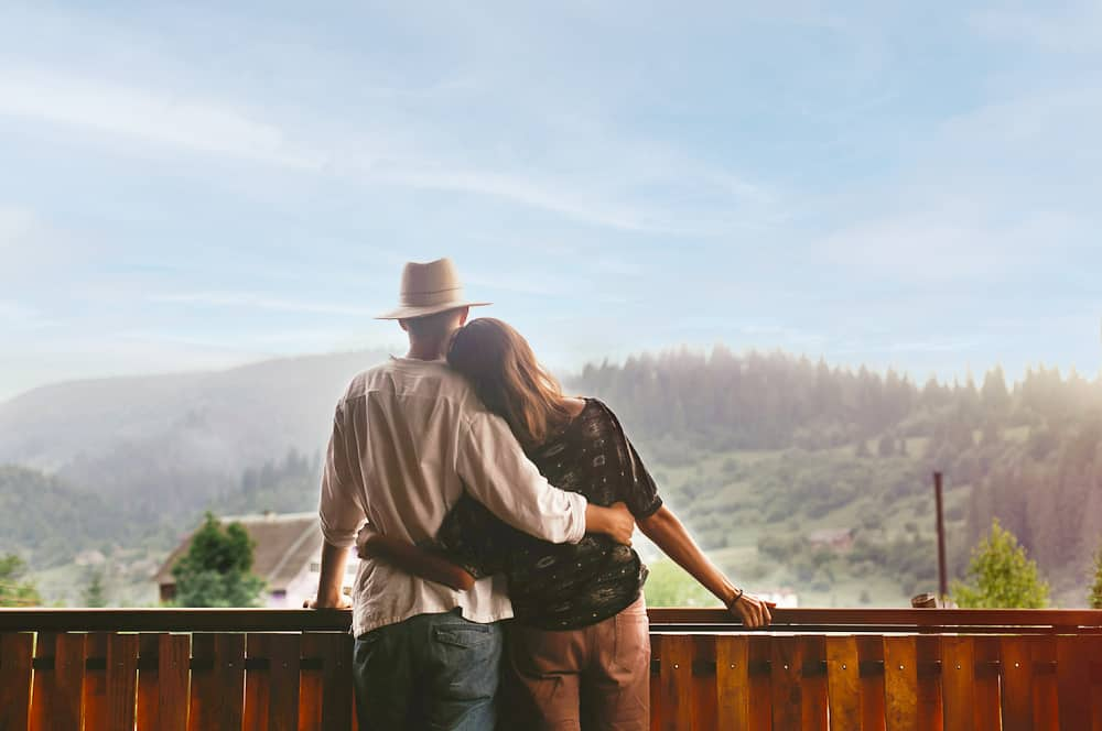couple on cabin deck